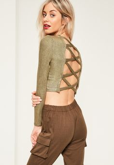 Gold Ribbed Cross Back Crop Top - Missguided