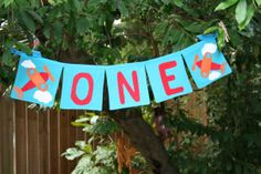Airplane first birthday banner by FstopCreations on Etsy, $14.99