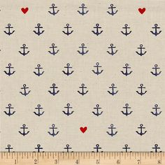 Cotton + Steel S.S. Bluebird You're My Anchor Natural from @fabricdotcom  Designed by Melody Miller for Cotton + Steel, this fabric, printed on unbleached cotton, features nautical anchors that will have you wishing it was boating season! Perfect for quilting, apparel and home decor accents. Colors include cream, navy and red.