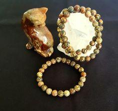 Genuine Leopardskin Jasper Bracelet w/8mm beads by LunaValleyCrystals