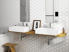 Hexagon Tile Porcelain White Tiles Bring your walls and floors right up to trend with these sleek and stylish White Hexagon Tiles. Part of our selection of Hexagonal White Tiles,. Hexagon Tile Bathroom, Kitchen Wall Tiles, Bathroom Tile Designs, Hexagon Tiles, Bathroom Flooring, Flooring Tiles, Hex Tile, Bathroom Grey, Bathroom Wall