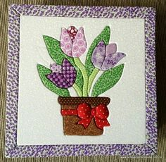 Applique Quilt Patterns, Stencil Patterns, Embroidery Applique, Fabric Art, Fabric Crafts, Flower Quilts, Crazy Patchwork, Basket Quilt, Miniature Quilts