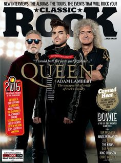 (January 2015, UK) Queen + Adam Lambert gracing the cover of Classic Rock Magazine. Check it out here http://issuu.com/weareteamrock/docs/cr_206_page_turner | Source: Classic Rock Magazine