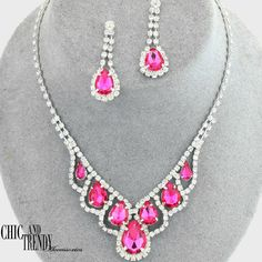 CLASSIC STYLE PINK & CLEAR CRYSTAL PROM WEDDING FORMAL NECKLACE JEWELRY SET  #Unbranded