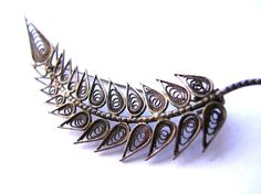 Vintage Filigree Feather Brooch , Filigree Feather Pin