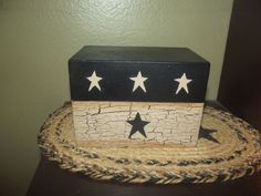 Primitive Wood Recipe Box ~ Crackle Tan & Black ~ Country Decor #NaivePrimitive