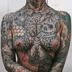 """Update from my last chest/breast piece picture; you might now notice the sternum gap is filled in and my entire chest is now complete! HEALED photo. Chest/Breast Work by Nico Roussin.  """"What is the difference in a mans nipple than a womens? Why is it more of a big deal if I show off my breast tattoos than if a man shows off the tattoos on his pecs? This isn't about my breasts themselves; it's about the art on them. Just as if you saw a photo of a mans chest piece, you wouldn't think it..."""