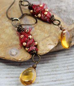 Red Sari Silk Earrings by ROandKO on Etsy, $30.00