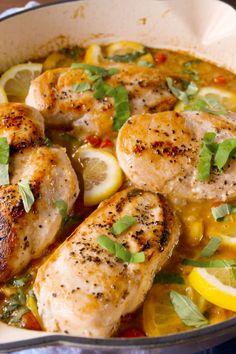 Lemon Butter Chicken  - Delish.com...low carb-serve over cauli-rice
