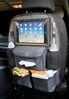 Amazon.com: Backseat Car Organizer for Kids with Extra Large Tablet Holder + BONUS Hook - Travel car storage, diaper caddy and kick mat seat protector for kids & baby with touchscreen pocket for your iPad: Baby