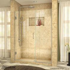 DreamLine Unidoor Plus Min 59-1/2 in. to Max 60 in. W x 72 in. H Hinged Shower Door, Brushed Nickel Finish Hardware