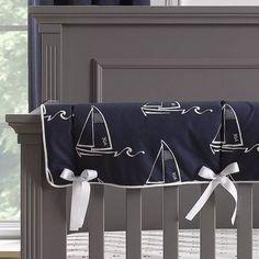 Nautical Sailboats (Indigo) Crib Rail Cover | Liz And Roo Nautical Baby Bedding, Navy Crib Bedding, Sailboat Nursery, Coastal Nursery, Baby Bedding Sets, Nautical Nursery, Baby Pillows, Crib Rail Cover, Bebe