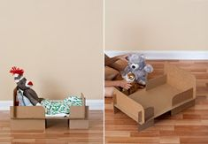 DIY Cardboard Doll Bed could be cute outta wood too! Fun Crafts To Do, Diy Arts And Crafts, Crafts For Kids, Activities For Kids, Carton Diy, Diy Karton, Diy Bett, Cardboard Toys, How To Make Toys