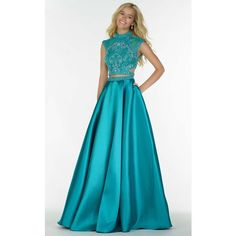 Alyce 6780 Prom Long Dress Long High Neckline Short Sleeve ($448) ❤ liked on Polyvore featuring dresses, gowns, formal dresses, prom gowns, prom dresses, mermaid gown, blue prom dresses and long formal evening gowns