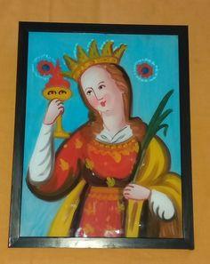 Pittura su Vetro Santa Lucia cm 40x30 (Repro) Per maggiori info contattatemi! pincisanti@hotmail.com