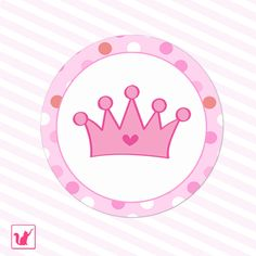 Printable Pink Hot Pink Princess Crown Tags - Polka Dots Birthday Party Baby Shower