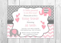 Pink and Grey Elephant Baby Shower Invitation, It's a Girl, Elephant, Chevron, Pink, Little Peanut, Baby Shower Invitation, Girl Baby Shower by PixiPrintables on Etsy https://www.etsy.com/listing/387221610/pink-and-grey-elephant-baby-shower