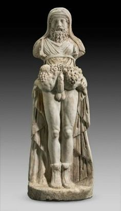PRIAPOS (Roman PRIAPUS) was a rustic God (Theoi Nomioi).The protector of live stock, fruit & vegetables. He's often depicted with an erect penis to symbolise fertility of the garden. Clay statues of Priopus where often placed in garden plots as a fertility offering and to act as a scarecrow.