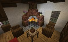 A Cosy Fireplace. (A little taste of Jerm, wagon wheel add on, terracotta add on. Minecraft Cabin, Minecraft Houses Survival, Cute Minecraft Houses, Minecraft Room, Minecraft Plans, Minecraft Christmas, Minecraft Blueprints, Minecraft Creations, Minecraft Crafts