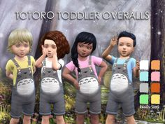 Totoro overalls for toddlers.  - base game compatible  - EA mesh  - available in 8 colours  Download here.  thank you to @a-luckyday & @a-radioactive-mess for the poses!  Tag @koala-sims or #koala-sims if you wear them