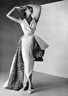 Sylvie Hirsch in a melange of white satin and leopard fur by Christian Dior, photo by Philippe Pottier, 1950