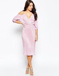 ASOS | ASOS Cold Shoulder Plisse Pleated Midi Dress at ASOS