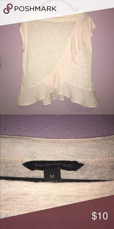 Banana Republic light pink blouse BR light pink blouse with tulip opening on bottom and sheer ruffles. Light tshirt material Banana Republic Tops Blouses