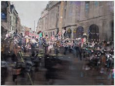 Oona Hassim, 'Anti cuts demo, march 2011 - Piccadilly', 90 x 122 cm, oil on canvas. Woolff Gallery