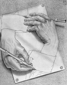 Probably the first bit of Escher art I had seen. Escher Drawing Hands, Escher Drawings, Escher Paintings, Op Art, Escher Kunst, Mc Escher Art, Illusion Art, Illustration, Painting Art