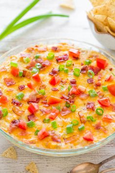 Loaded Baked BLT Dip - The traditional flavors of a BLT sandwich turned into an easy, creamy, ultra CHEESY dip with BACON in every bite!!…