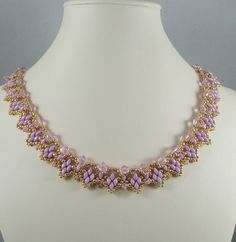 Woven Twin Bead Necklace Pink and Gold by IndulgedGirl on Etsy