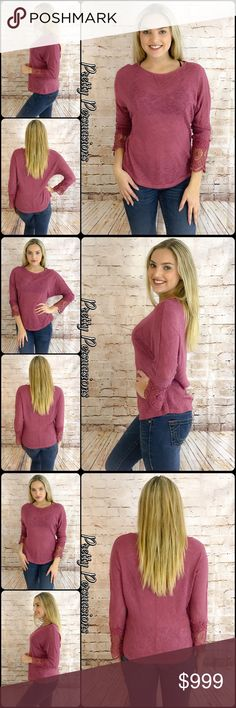"""NWT Mauve Pink Crochet Lace Cuff Knit Top NWT Mauve Pink Crochet Cuff Knit Top  Available in S, M, L Measurements taken from a small Length: 25"""" Bust: 36"""" Waist: 40""""  Rayon Blend  Made in the USA  Features  • crochet lace cuff sleeves • rounded neckline  • dolman sleeves  • relaxed fit  • soft, breathable semi-sheer knit material   Bundle discounts available  No pp or trades  Item # 1/106120360MCCT slub knit crochet lace pink mauve blush sweater top marled knit Pretty Persuasions Tops"""