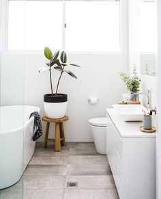 Green plants add a little life to a pure white bathroom.