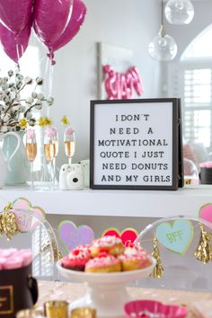 FEATURE: Cozy at Home Galentine's Day Brunch Looking for a fun Galentine's Day idea? Find out how to throw a cozy Galentine's Day brunch. Valentines Day Food, Valentine Theme, Valentines Day Decorations, Brunch Party Decorations, Brunch Decor, Office Decorations, Valentinstag Party, Valentine's Day Quotes, Life Quotes