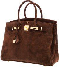 Luxury Accessories:Bags, Hermes 35cm Chocolate Veau Doblis Suede Birkin Bag with…
