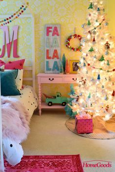 Bring Holiday Cheer Throughout the Home - HomeGoods Christmas Tree With Gifts, Christmas And New Year, All Things Christmas, Christmas Home, Christmas Decorations, Holiday Decorating, Christmas Treats, Merry Christmas, Nursery Room