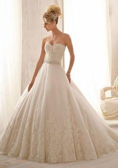 2621 Bridal Gowns 2621 Beaded Alencon Lace on Tulle with Wide Hemline