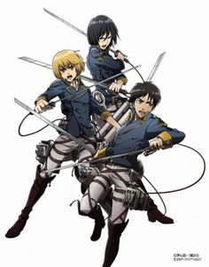 Attack on Titan/Shingeki no Kyojin - The Shiganshina Trio, Eren Yaeger, Armin Arlert, and Mikasa Ackerman Attack On Titan Fanart, Attack On Titan Levi, Anime Manga, Anime Guys, Anime Art, Eren And Mikasa, Armin, Kawaii, Cute Art