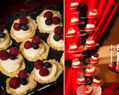 Ideas For Bridal Shower Themes Red Dessert Tables Red Bridal Showers, Backyard Bridal Showers, Bridal Shower Desserts, Bridal Shower Cupcakes, Elegant Bridal Shower, Black Dessert, Personalized Bridal Shower Gifts, Shower Ideas, Colors