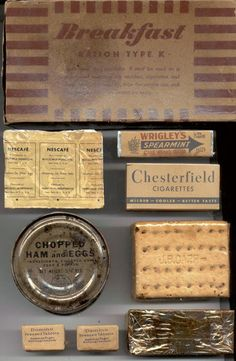 US Army Rations - World War II breakfast ration.  The item in the bottom right is a pressed fruit bar.