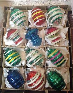 Vintage-RARE-Shiny-Brite-Shapes-Christmas-Tree-Ornaments-w-Box