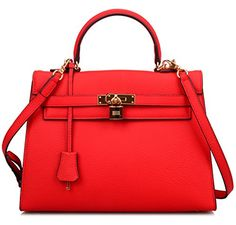 Ainifeel Womens Padlock 32cm Shoulder Handbags Red * Continue to the product at the image link.Note:It is affiliate link to Amazon.