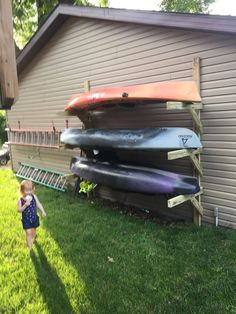 Homemade PVC Kayak Rack Can Store 4 Kayaks Paddles . After About 2 Months Of Having The Kayaks Laying Around . Kayak Storage Rack, Kayak Rack, Boat Storage, Shed Storage, Storage Ideas, Storage Systems, Kayak Holder, Bike Rack, Kayak Garage Storage