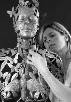 Artist at work. Linda Brunker making original wax sculpture for 'Gaia's Garden'. Sculpture Projects, Artist At Work, Diy Art, Irish, Bronze, Statue, Gallery, Biography, Wax