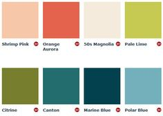 1950s Paint Colours (England) - I like Orange Aurora for a door, and Polar Blue is nice