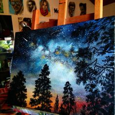 Pretty and semi-detailed painting idea. Forest trees and galaxy painting in one with sunset. Done with oils on canvas (4ox3o).✌. Please also visit www.JustForYouPropheticArt.com for more colorful art you might like to pin. Thanks for looking!