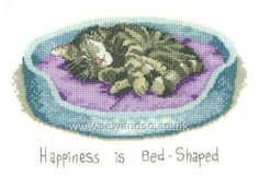 Buy Happiness Is Bed Shaped Cross Stitch Kit online at sewandso.co.uk