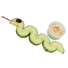 Crazy Cucumber Snakes! Not a craft but fun food idea for kids