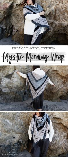 Mystic Morning Wrap - free crochet pattern with chart at Two of Wands.