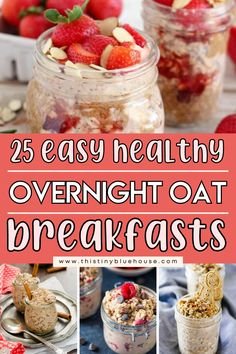make breakfast a delicious seamless part of of your day with these easy and delicious overnight oats recipes. Prepare these delicious overnight oats recipes ahead and have breakfast ready and waiting for you all week! Delicious Breakfast Recipes, Easy Healthy Breakfast, Easy Family Meals, Easy Meals, Oats Recipes, How To Make Breakfast, Overnight Oats, Food To Make, Waiting